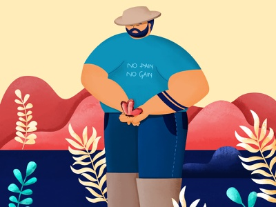 Inktober 02 - Bulky bearded man muscle man muscle hat vector texture illustration 2d character illustration character man healthy fat bulky inktober2020 inktober
