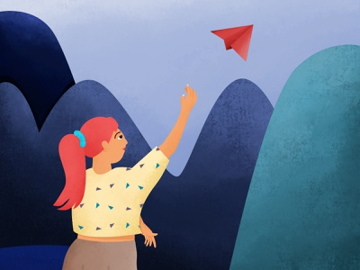 Inktober 05 - Throw character design blue childhood mountain paper plane throw girl inktober2020 inktober 2d character woman illustration
