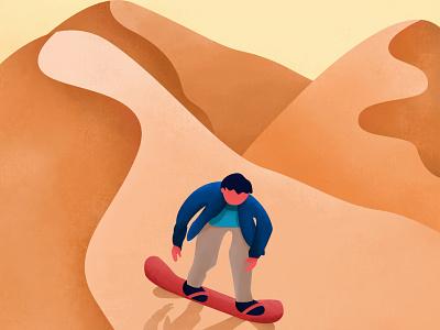 Inktober 07 - Dune vector design 2d character texture boy skateboard skating sand boarding desert sand dunes inktober2020 inktober illustration