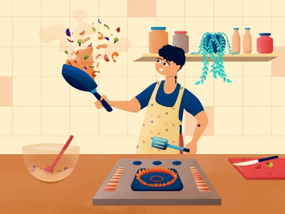 Inktober 09 - Storm man character design inktober2020 inktober kitchen cooking cook chef boy character vector design 2d illustration