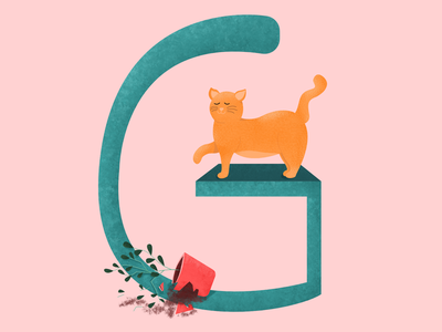 G for 36 Days of Type digital illustration type letter typogaphy concept art 36daysoftype08 36 days of type 36daysoftype g letter g alphabet cat illustration