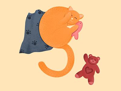 Sleepy Cat - Letter S s letter s alphabet baby animal dog pet kitty sleepy sleep 36daysoftype2021 36daysoftype cat character illustration