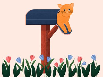 Got Meowl! - Letter T lettering flat pet animal mailbox alphabet character cat illustration 36daysoftype