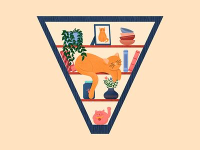 Letter V 36daysoftype digital illustration kitchen pet childrensbook shelf cat vector illustration