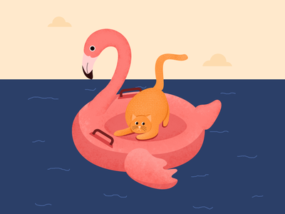 T(w)o scared - 36 days number two alphabet type pet swim swimming pool floatie flamingo vector 2d cat character illustration
