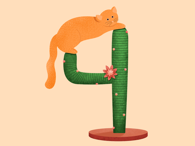 Cactus love - 36 days cactus kitty pet 36daysoftype number lettering alphabet cat character vector 2d illustration