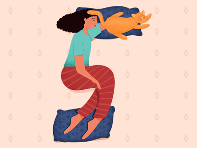 Nap time  - 36 days of type cute night bed sleep nap vector 36daysoftype pet girl cat character alphabet illustration