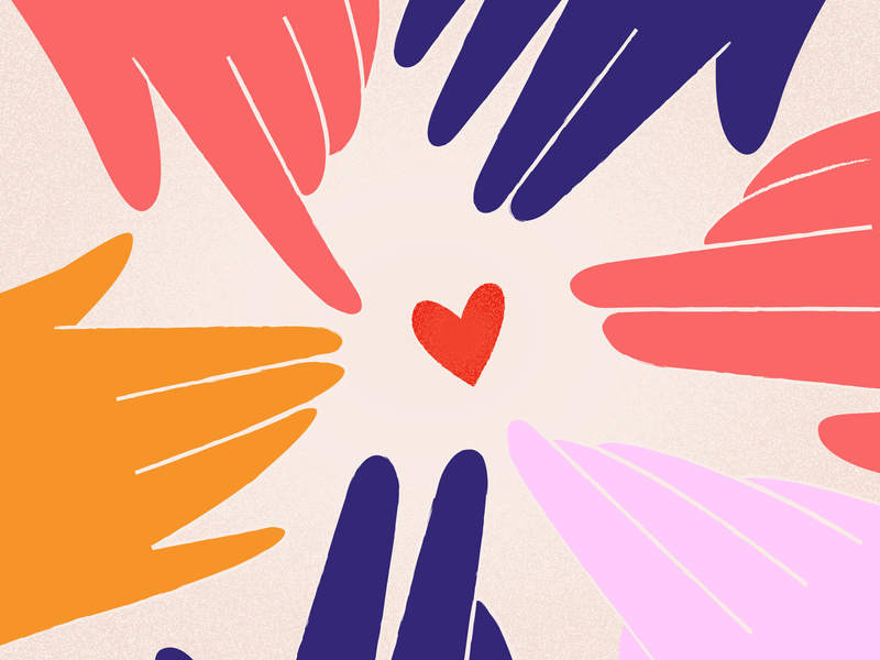share the love vector illustration heart share hands valentines love
