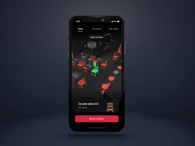 🎵 Smart seats booking experience experience arkit space desk chair future technology book seat map restaurant food layoutplan floorplan design 3d micro interaction animation interaction ui