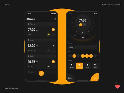Turntable type alarm clock add on ux ui interface week bgm night ring day time music clocks type cool light black  white orange clock dial turntable