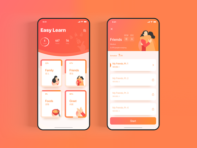 Chinese language learning course pass game learning language gradient dribbble interaction ui