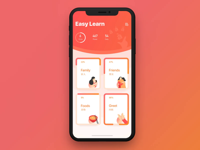 Chinese language learning animation family friend food language game app learning illustration ui motion dribbble gradient micro interaction interaction animation voice wave game pass course