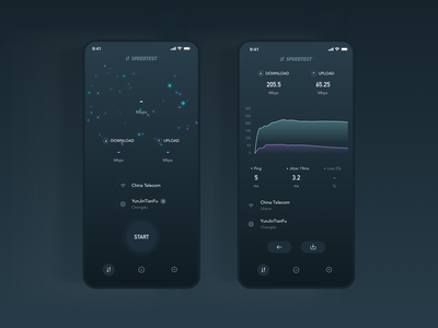 Speedtest for start and end page redesign dashboard ui interaction gradient light star data download upload speed test meteor wifi service mbps black