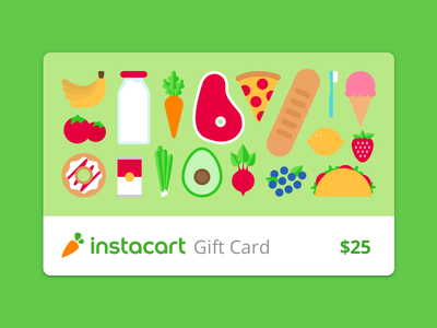 Instacart digital gift cards icons illustration food instacart grocery amount buy credit money card gift