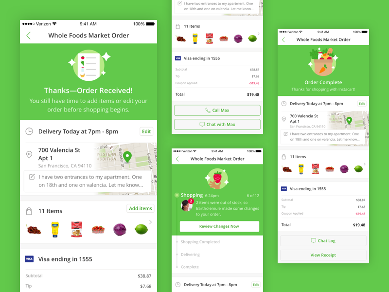 Instacart Orders on iOS address time receipt contact items state delivery progress status order iphone ios