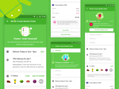 Instacart Orders on Android grocery instacart status delivery contact order android design material