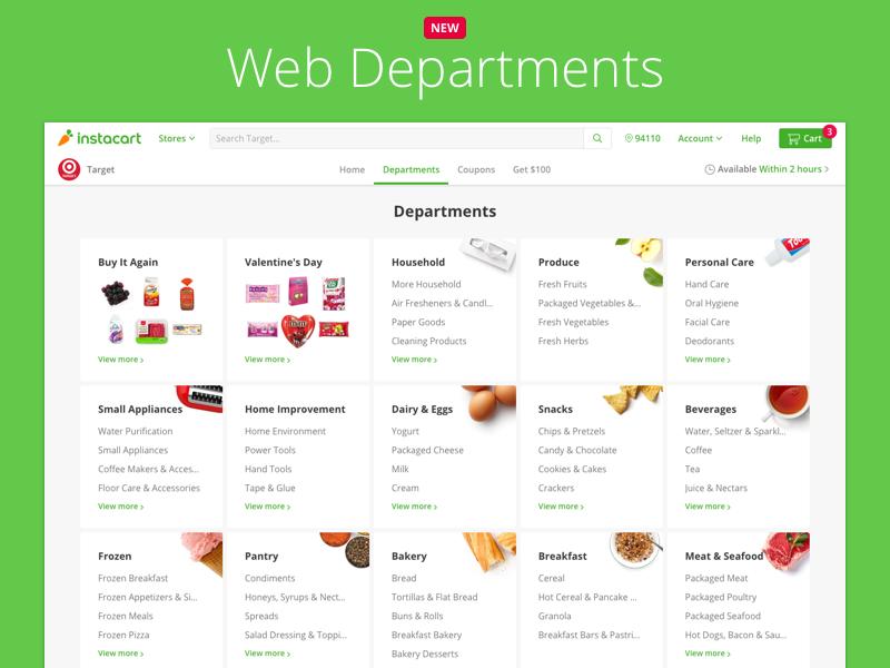 Web Departments categories buy items commerce aisles departments browse web