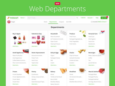 Web Departments categories buy items commerce aisles departments browse web
