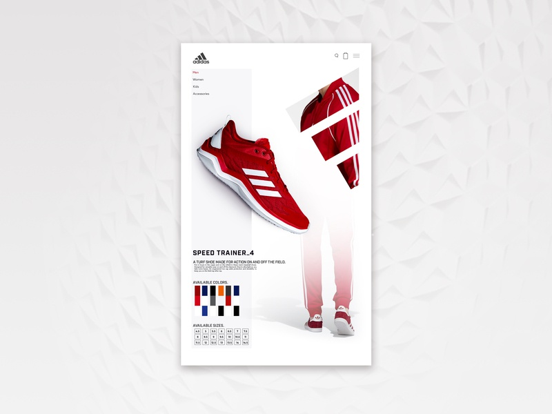 Adidas concept landing  page nike adidas webdesign illustrator photoshop gradiant typography design ui branding red colorful