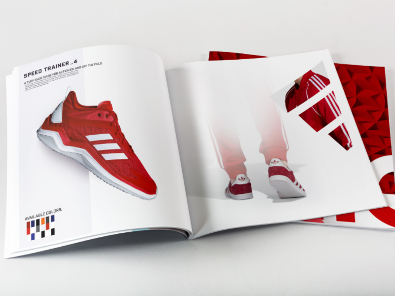 Adidas magazine spread shoes product illustrator photoshop spread magazine red layout adidas