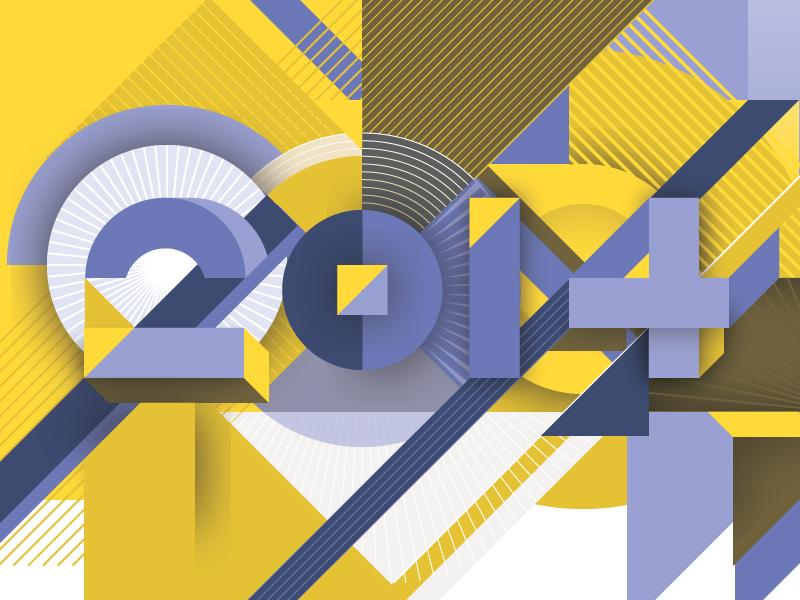 Happy 2014! lettering custom futurist graphic illustration typography isometric 3d
