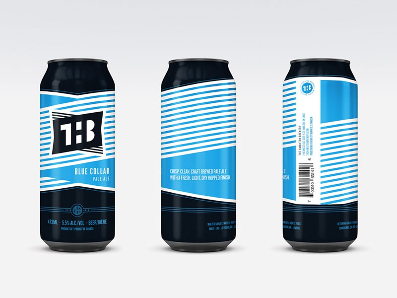 The Hamilton Brewery Blue Collar Pale Ale can design thb hamilton can beer beverage logo branding illsutration design