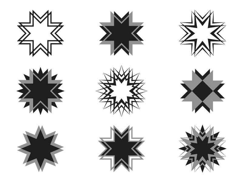 miscellaneous stars brand logo star geometry illustration design