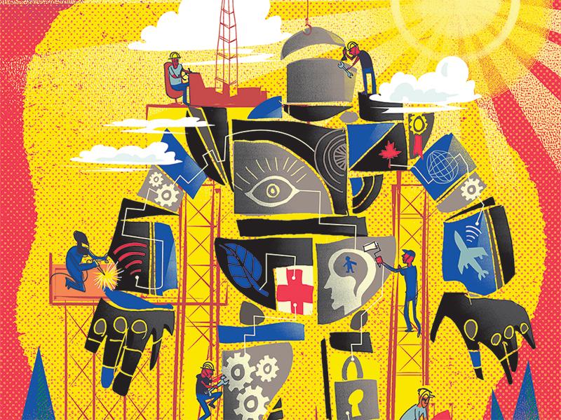 Robot Illustration editorial bright retro design publication canada poly studio jamie lawson robot digital illustration