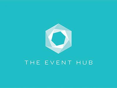 Event Hub logo Round 3B logo design identity geometric branding tradeshow modern collateral promotional