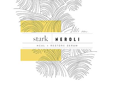 Stark+ 2 packaging package design illustration branding logo black and white linework skincare