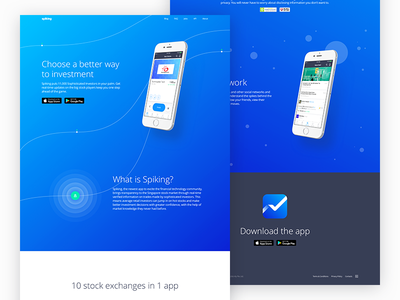 Landing Page about invest ux ui web-design investment finance iphone blue website landing-page