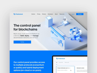 Landing page – Control panel for blockchain