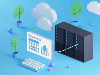 Partially hosted interface illustration 3d design desktop chart schema blue it infrastructure 3d illustration 3dillustration 3d cloud clouds server servers blender3d blender