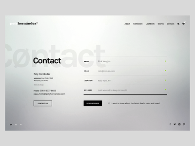 Poty Hernández - Contact branding web fashion website ui ux responsive online store