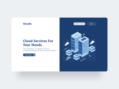Cloudd - Minimalist Web Design trending ui web minimalist design cloud computing iot illustrations web app website design popular shot popular design dribbble best shot dribbble trend 2020 minimalist ux ui web design