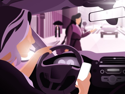 Distractions are everywhere. Don't add your phone to the mix. outside sunny graphic phone driving colors minimal illustration
