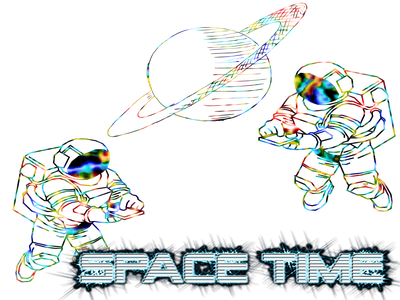 Space time2 planets galaxy illustration astronomy astronaut space