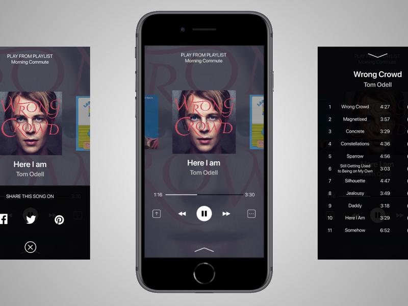 Music Player UI Design icon iphone 8 design ui app