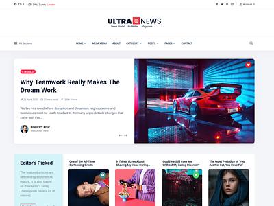 UltraNews html ui typography publisher design publication newspaper web magazine bootstrap 4