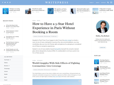 Writepress - Creative Blog Template jquery css3 html5 author writer publisher magazine minimal newspaper bootstrap 4