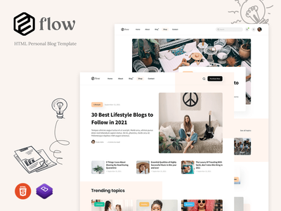 Flow - HTML Personal Blog Template trave
