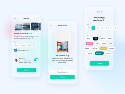 Swopper - Clothes swapping mobile app fashion mobile ui glass effect transparent background glass transparent trend ui ux zero waste eco friendly dailyui configuration settings process process flow wizard setup pills selection