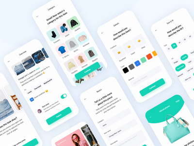 Swopper - Item upload and configuration configuration design interface ux steps select pill clean overview input setup flow process wizard mobile ui app fashion upload