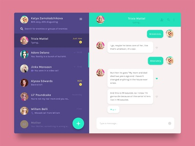 Simple Chat Module interface screen candy messenger application app design ux ui material module chat