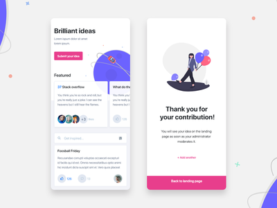 Idea Management mobile illustration ux carousel card ui enterprise