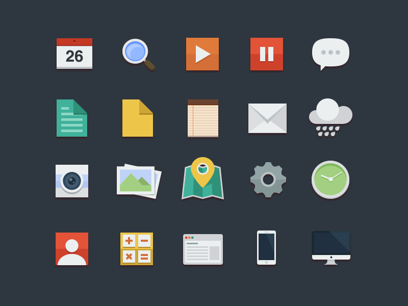 Free Flat Icons color ui iphone mac set play camera icon search setting clock light pause psd clean buatoom illustration modern fan flat calculator note mail weather eps profile document map cal photo