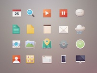 Another Free Flat Icons camera buatoom illustration light clean flat photo clock play calculator weather map