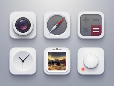Ishtar icons clock light calculator compass soft camera photo volume power icon ui buatoom
