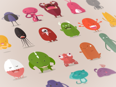 Catoblepas buatoom characters cute colors animals illustrations monsters cat sticker dog octopus squid