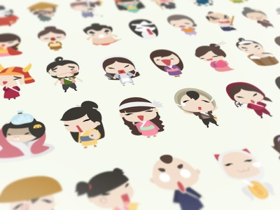 latest sticker set sticker fun ninja character samurai buatoom ghost monk cute japan emotion geisha
